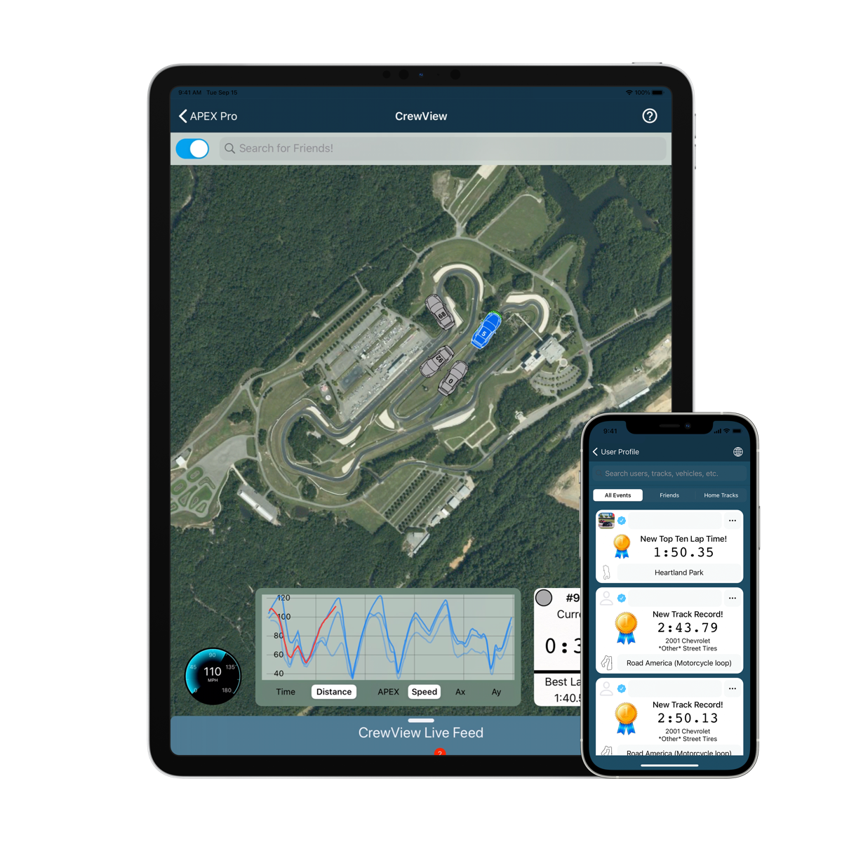 apex driving coach social and crewview features